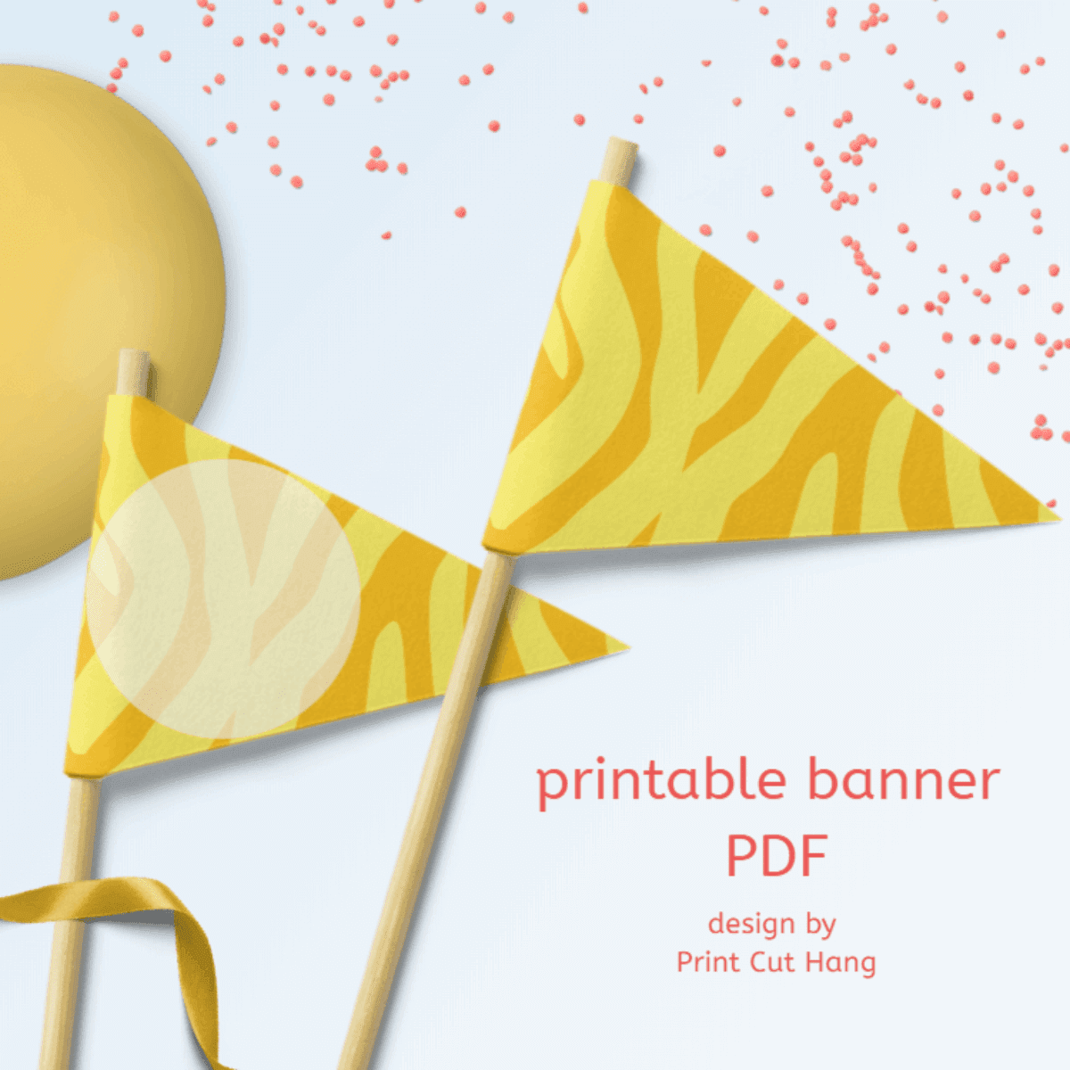 Printable Yellow Zebra Patterned Party Flags