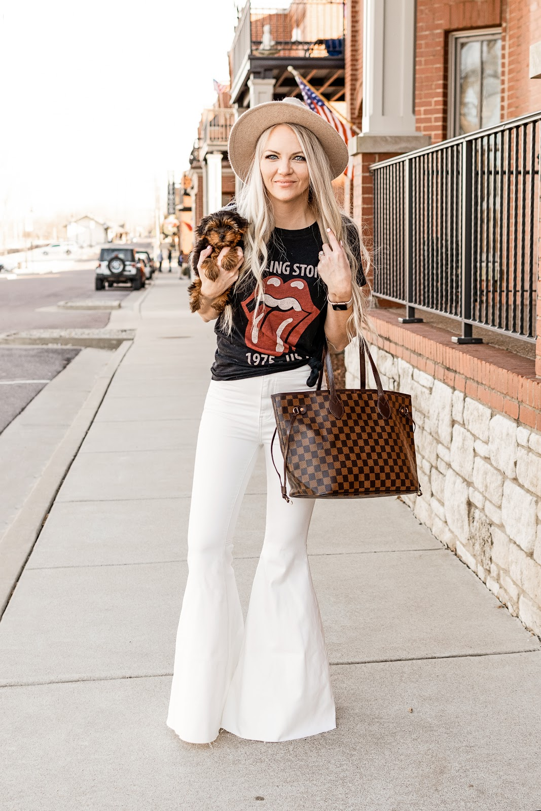 How to Style a Band Tee -  9 fun ways to style a band or graphic tee this spring/summer 2020 bell bottoms flare jeans super flare jeans free people neverfull dupe bag yorkie puppy fedora felt hat camo skirt leopard skirt sneakers platform sneakers white woven mules slides loafers white denim acid wash skirt white jeans mom jeans girlfriend jeans GG belt dupe gucci belt abercrombie jeans bodycon fitted dress
