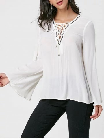 Flare Sleeve Lace Up Blouse