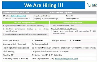 Job Vacancy for Diploma Fresher And Experienced Candidates In Twin Engineers Pvt Ltd Pune, Maharashtra, Apply Online