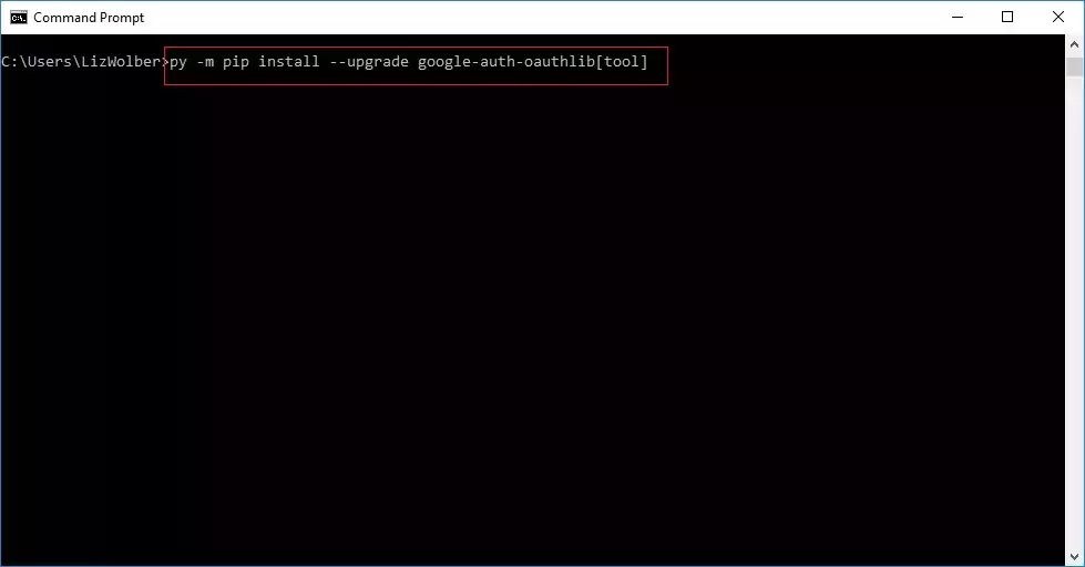 Command Prompt to install Google OAuth tool