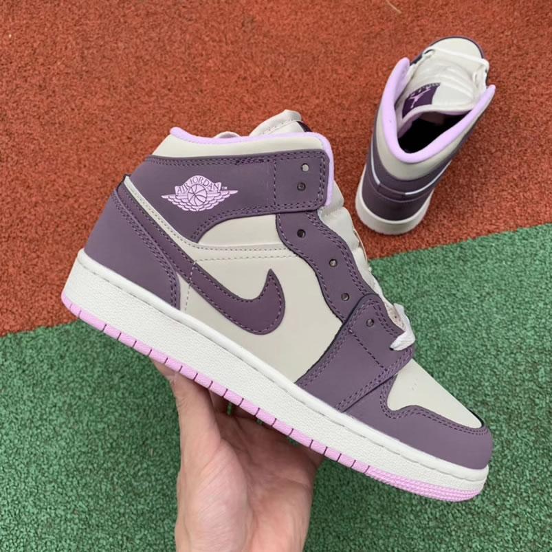 2c46e1cd204 Air Jordan 1 Mid GS  Pro Purple   Desert Sand  Shoes For Women 555112-500 -  www.anpkick.com