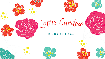 Image says Lottie Cardew is busy writing, surrounded by illustrated brightly coloured flowers