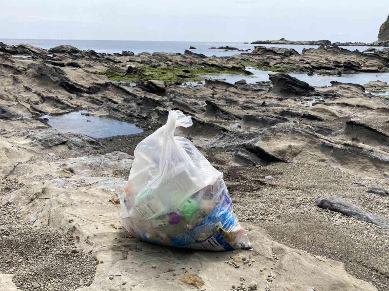 海辺でゴミ拾い