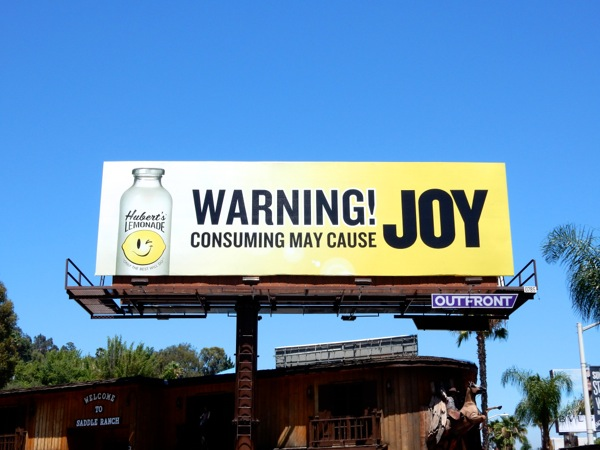 Warning may cause Joy Hubert's Lemonade billboard