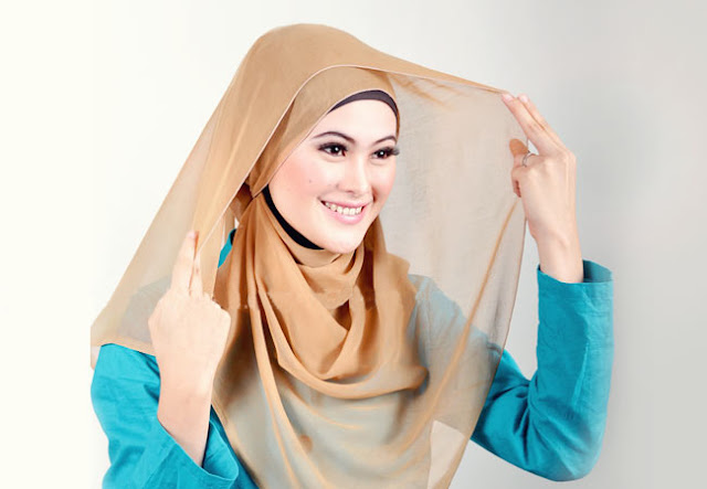 tutorial jilbab segi empat simple
