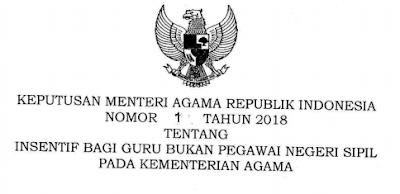 Insentif Bulanan Guru Non PNS Kementerian Agama KMA No 1 Tahun 2018