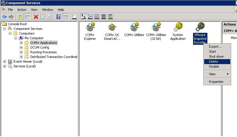 How to Uninstall the VMWare Snapshot Provider