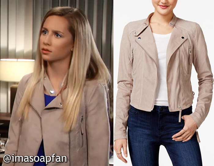 Josslyn Jacks, Eden McCoy, Taupe Beige Faux Suede Moto Jacket, GH, General Hospital