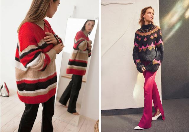 Полосатый свитер оверсайз со свободными брюками