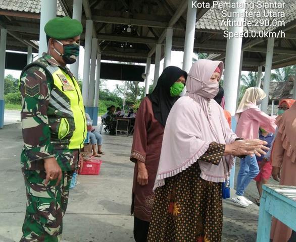 Penegakan Protokol Kesehatan Covid-19, Dilaksanakan Personel Jajaran Kodim 0207/Simalungun Diwilayah Binaan