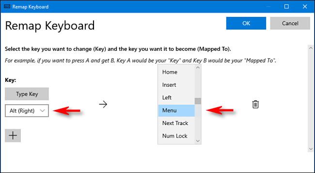 """انقر فوق سهم القائمة المنسدلة وحدد المفتاح ، ثم حدد """"القائمة"""" من القائمة المنسدلة """"تعيين إلى""""."""
