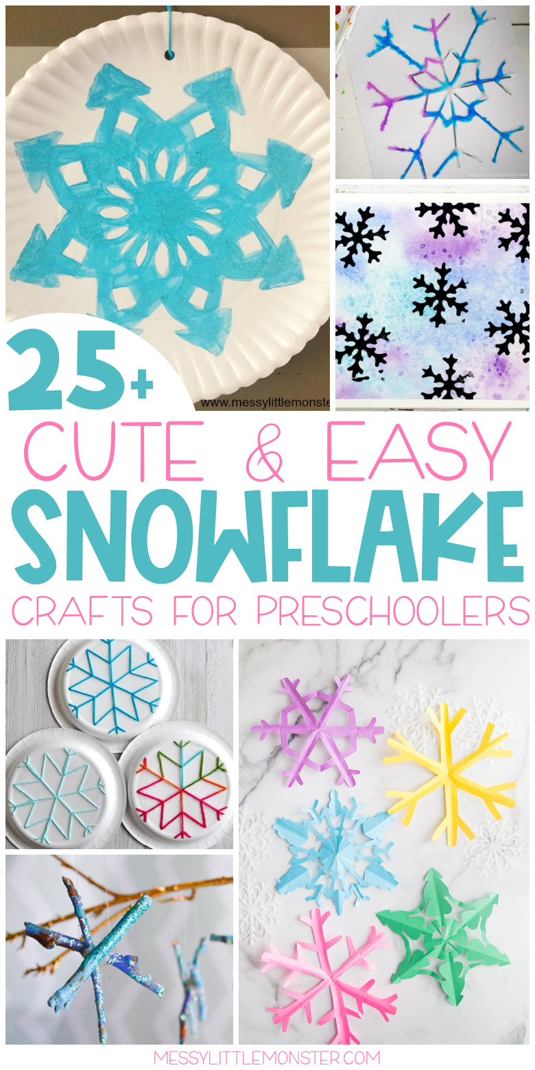 Easy snowflake crafts for kids and preschoolers.