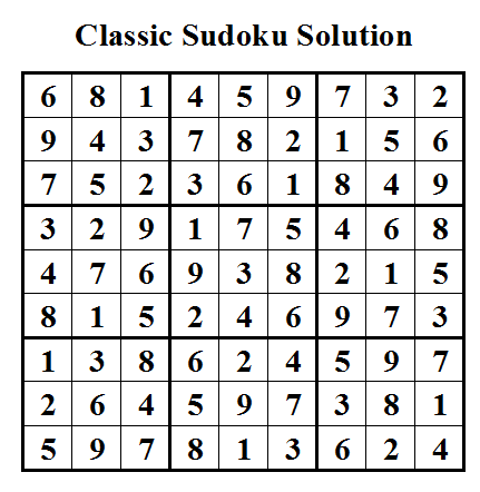 Classic Sudoku Solution (Daily Sudoku League #16)