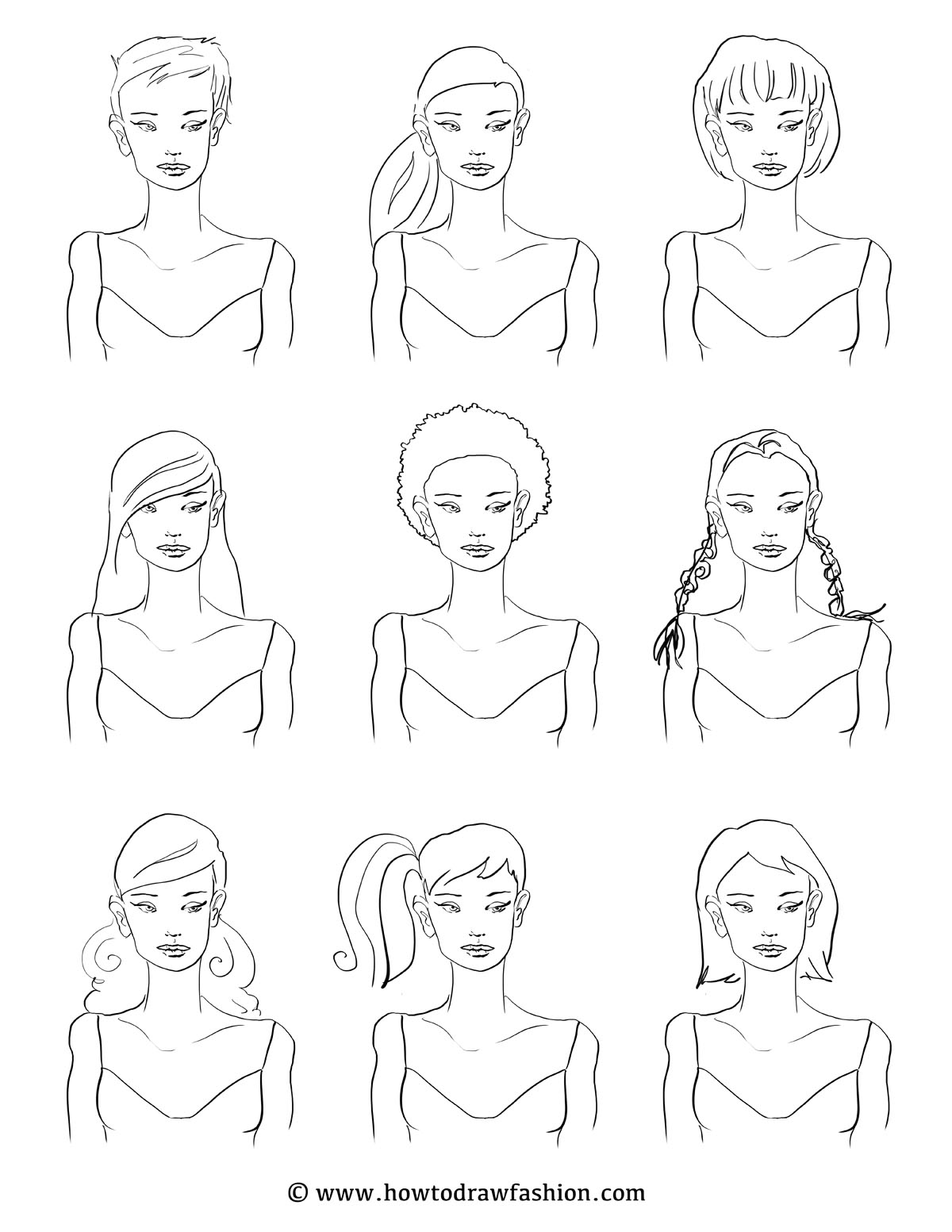How To Draw Fashion One Model Nine Styles
