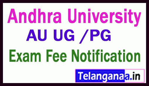 Andhra University UG /PG Exam Registration Fee Notification
