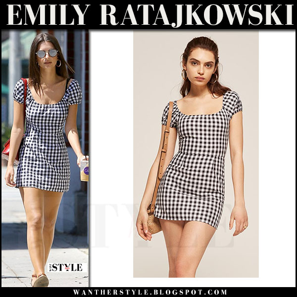 Emily Ratajkowski in black and white gingham print mini dress reformation what she wore april 21 2017