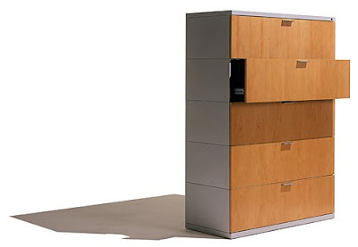 lateral file cabinet with wood veneer fronts on drawers