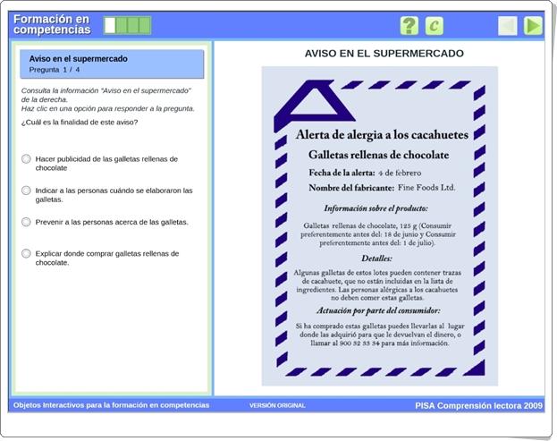 """""""Aviso en el supermercado"""" (Actividad interactiva de comprensión lectora PISA)"""