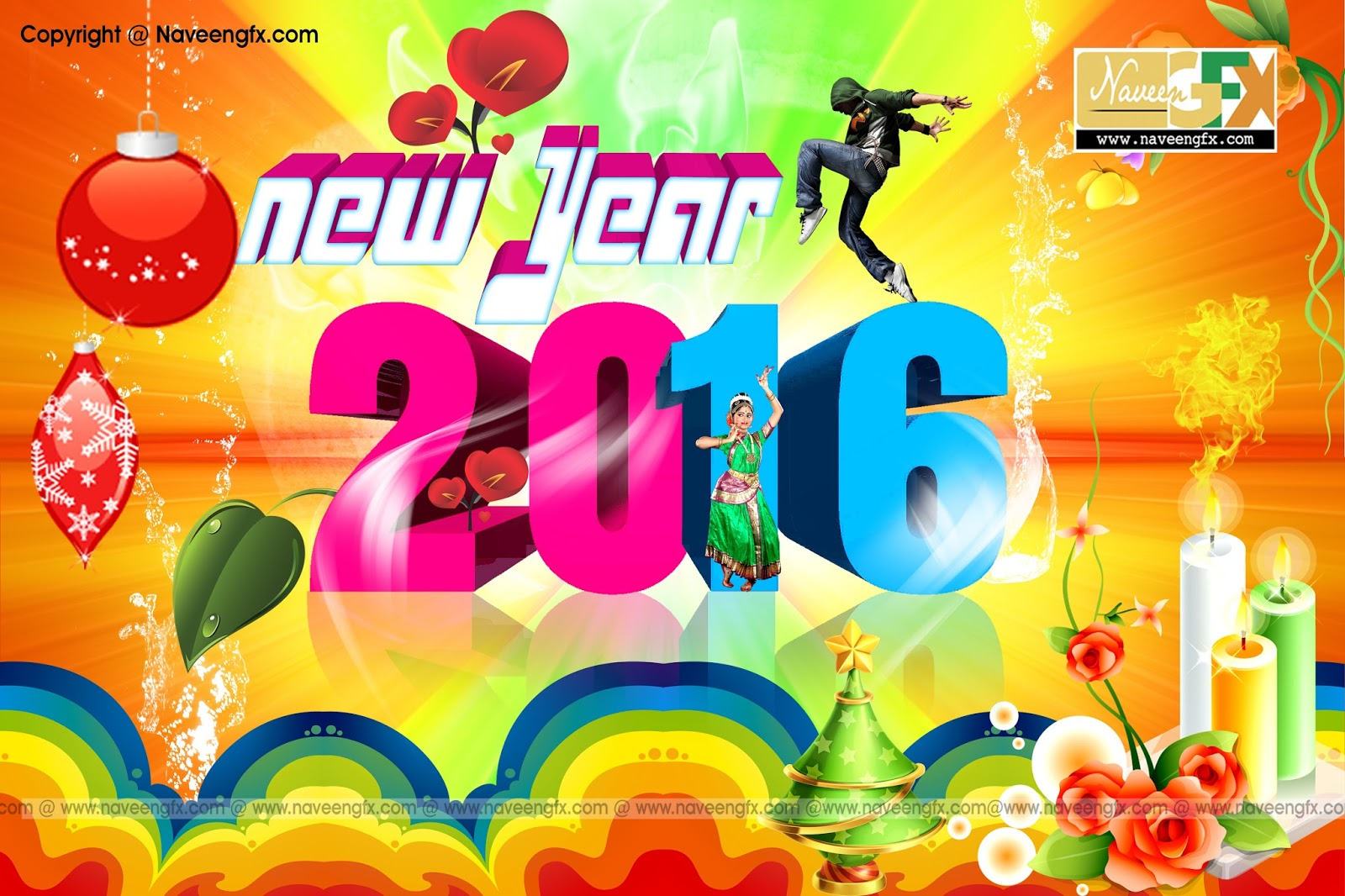 New Years 2016 Greeting Cards Psd Templates Free Downloads