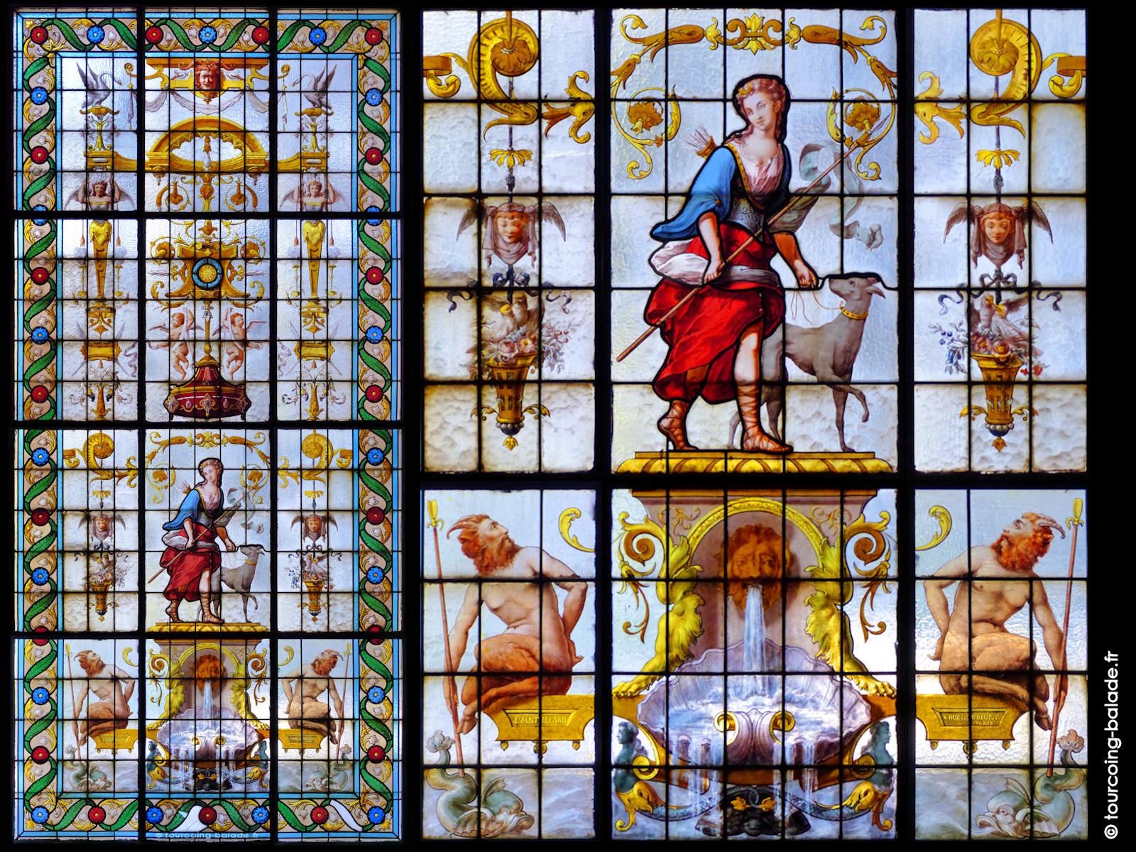Vitrail Vantillard 1890 - Diane et Satyres