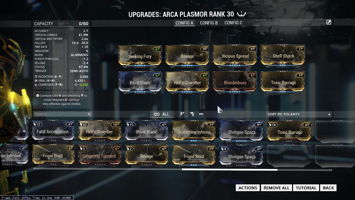 Warframe Build Arca Plasmor