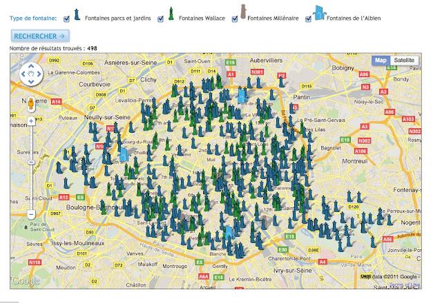 mapa fontann w Paryżu