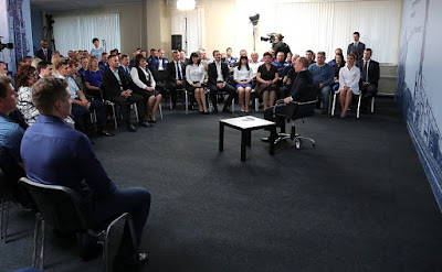 Vladimir Putin had a meeting with Lebedinsky GOK workers.