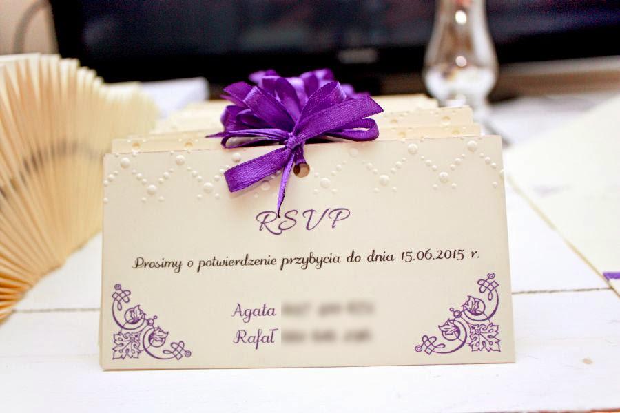 zaproszenia ślubne fiolet