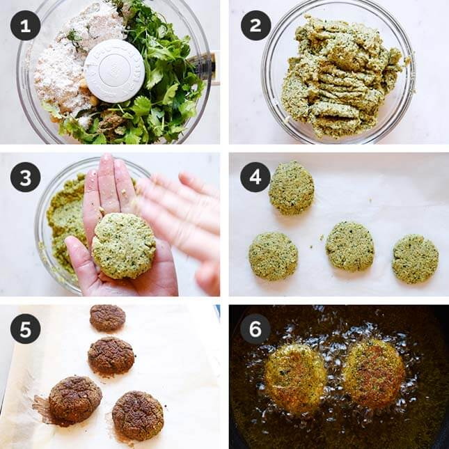 Step by step photos of how to make falafel