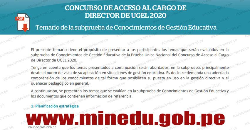 MINEDU: Temario para el Concurso de Acceso al Cargo de Director de UGEL (.PDF) www.minedu.gob.pe