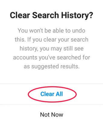 konfirmasi clear search history instagram
