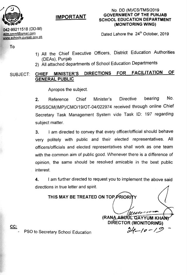 CHIEF MINISTER'S DIRECTIONS FOR FACILITATION OF GENERAL PUBLIC