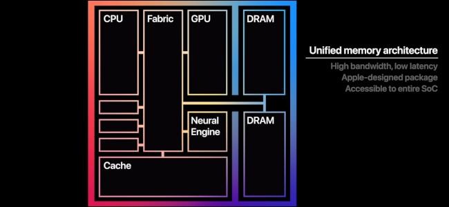 رسم يوضح الأجزاء المختلفة للمعالج M1.