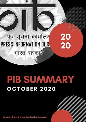 PIB Summary: October 2020