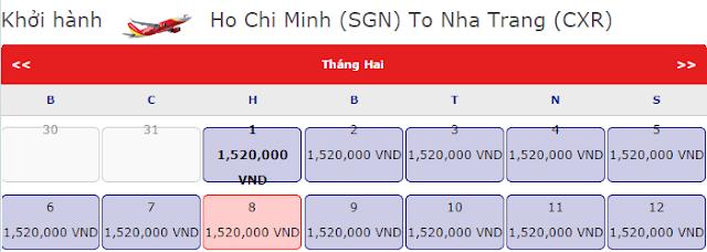 Vé máy bay tết Hồ Chí Minh đi Nha Trang chỉ 1,520k vnđ