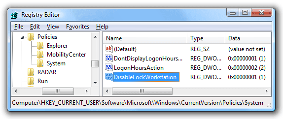 How to Prevent System from Locking of the Workstation Using Registry