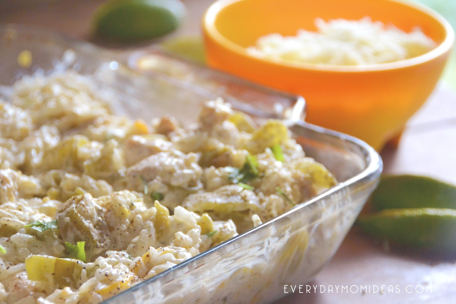 Cheesy Green Chilies & Lime Rice Bake With Chicken (Family ...