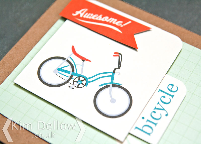 Close up of the bicycle on the greeting card