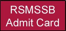 RSMSSB JE Admit Card
