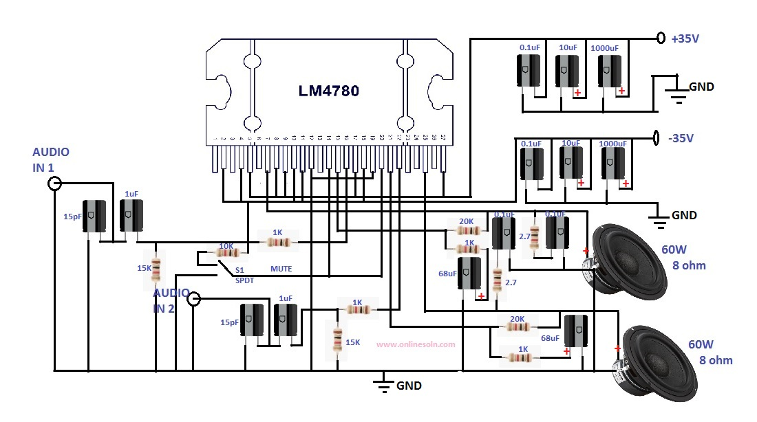 Stereo amplifier 2 x 60W Designed by using LM4780 IC
