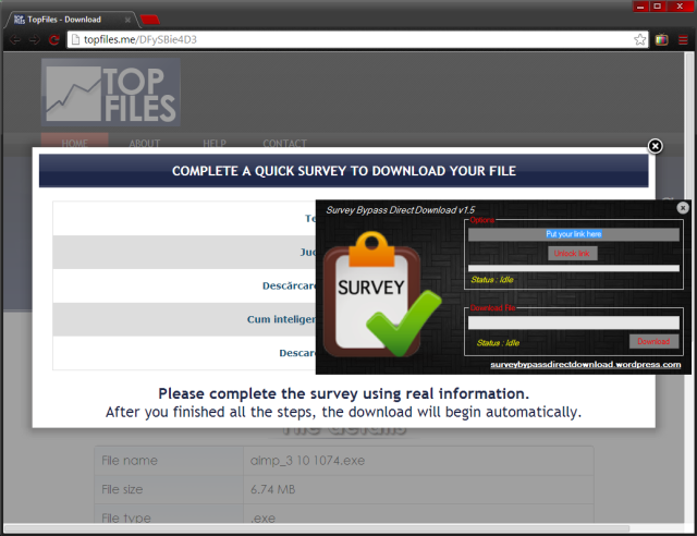 topfiles survey bypass