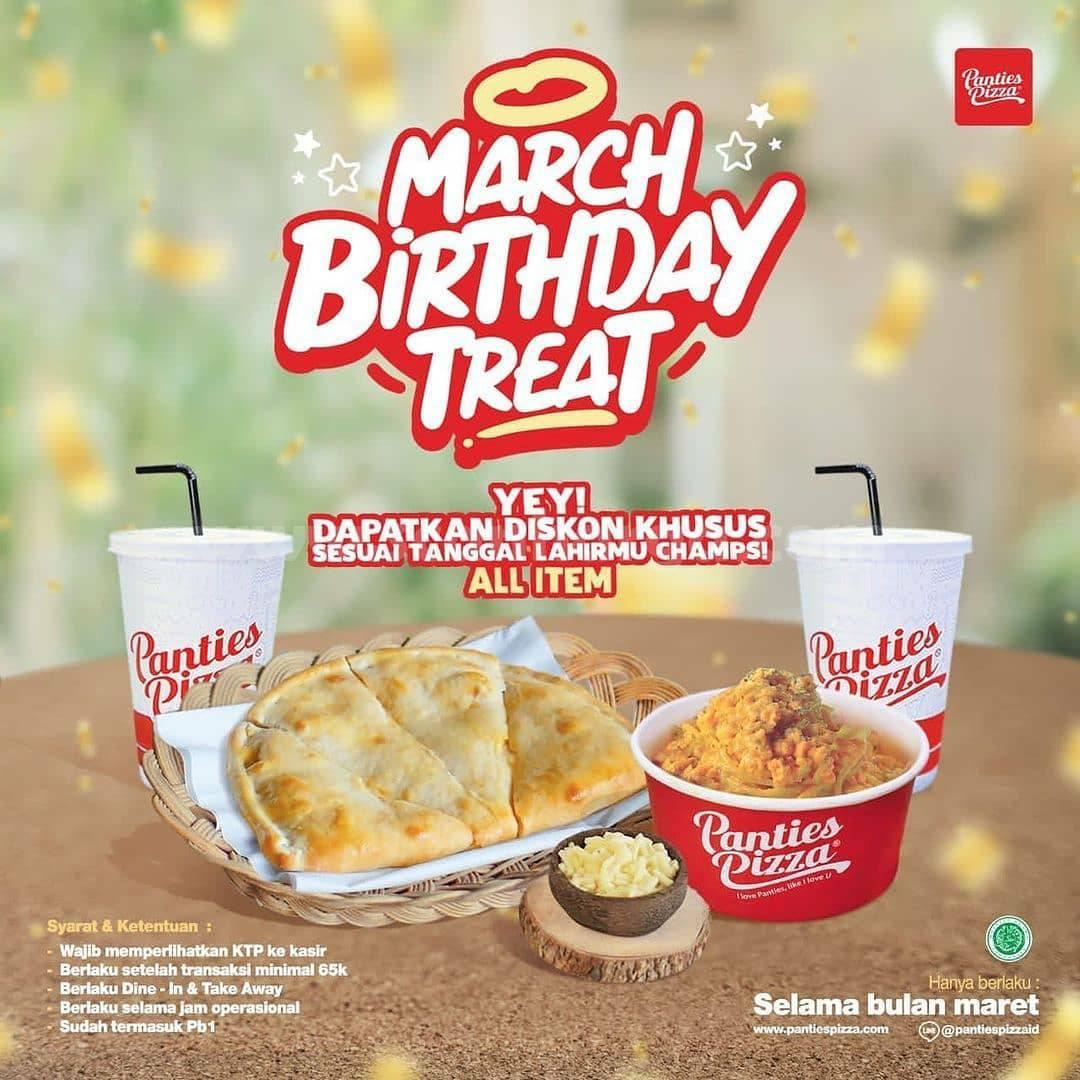 Panties Pizza Promo  March Birthday Treat Diskon Khusus All Item