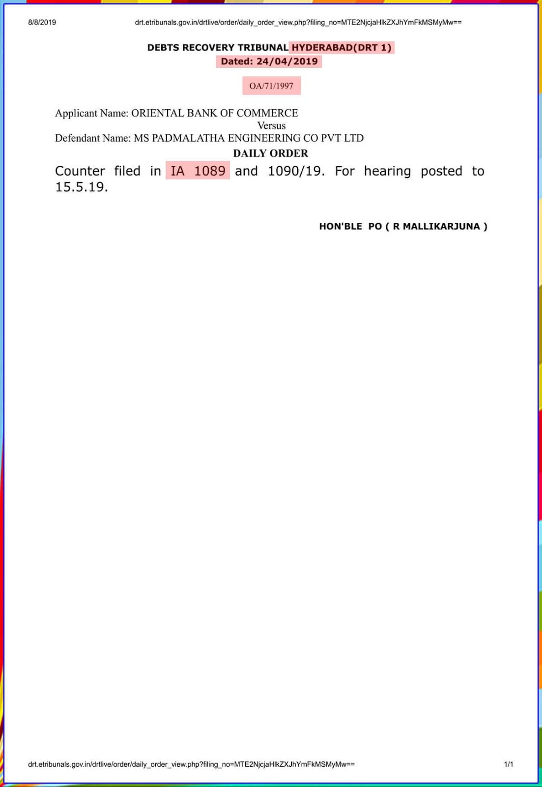 Debit recovery Tribunal-2 Hyderabad-I.A.No.1089/2019-12