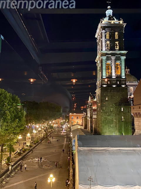 Night time view of Zocalo and cathedral from Attico 303, Puebla, Mexico