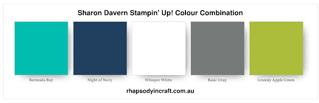 Bermuda Bay Colour Combination, Bermuda Bay, Night of Navy, Whisper White, Basic Gray, Granny Apple Green, Stampin' Up!