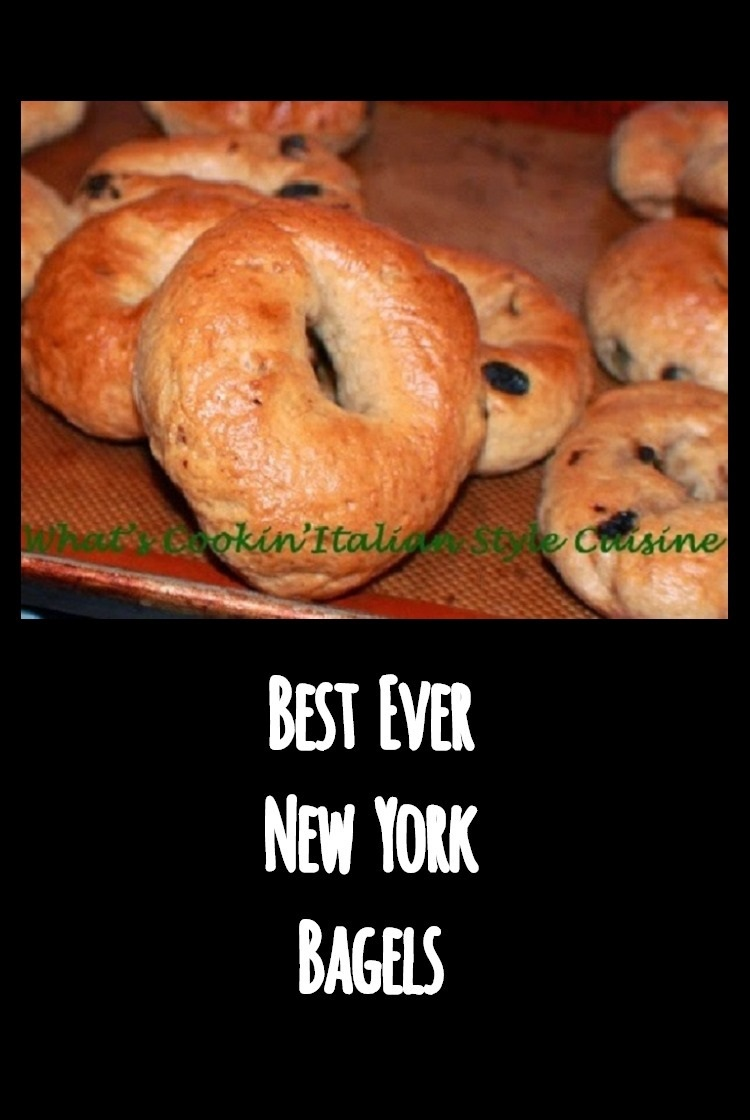 Best New York Water Bagels baked with raisins, cinnamon sugar, molded homemade dough into doughnuts shapes then boiled in sugar water. Baked with Asiago cheese, blueberries, cherry, best bagels New York Style cooling