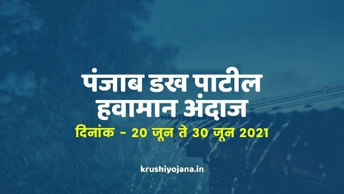 पंजाब डख हवामान अंदाज दिनांक 20 जून ते 30 जून : Punjab Dakh Weather Report Maharashtra
