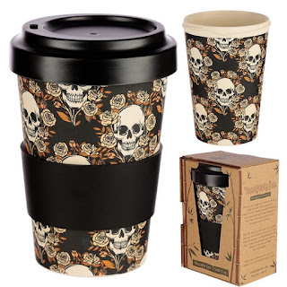 Skulls And Roses Reusable Bamboo Travel Mug - TheDivineMagick