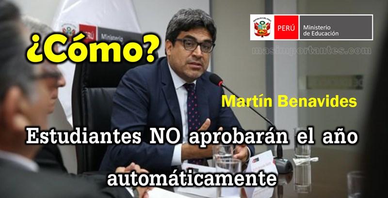 Martín Benavides. Estudiantes no aprobarán el año automáticamente